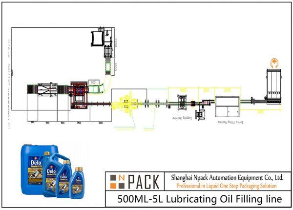 Ligne de remplissage d'huile de lubrification automatique 500ML-5L