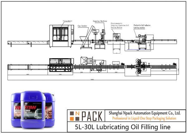 Ligne de remplissage d'huile de lubrification automatique 5L-30L