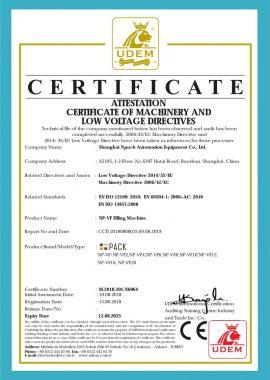 Certificat CE de machine de remplissage